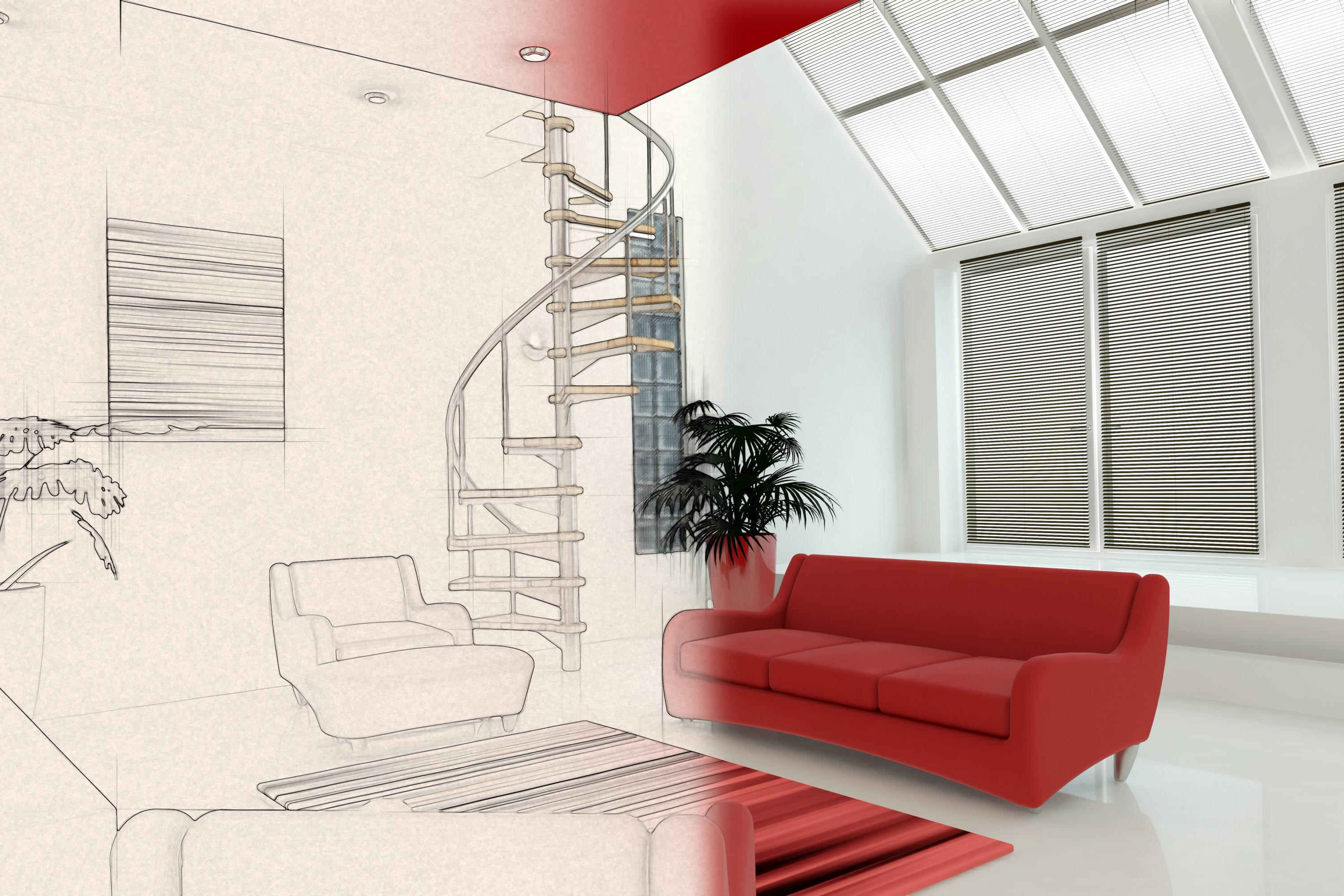 3D render of a contemporary interior with half in sketch phase